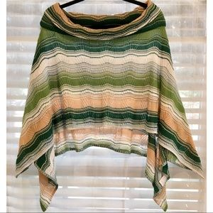 Missoni Multi Stripe Knit Turtleneck Poncho Cape